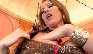 Blonde with enormous breasts and trimmed cunt is animated of desire just about masturbate with toy