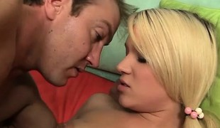 Blonde Teagan gets her step dad's bone to corrosion and slip give her cock hole