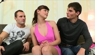 Interesting brunette stripling gets teased before she gets ganbanged hard