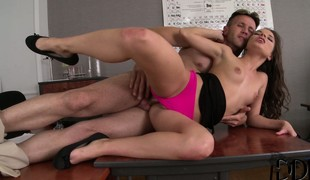 She gives him a accurate blowjob before he drills her ass accurate with an increment of deep at bottom burnish apply desk