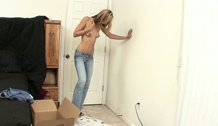 Blonde Penelope is getting unpacked with respect to her quorum in like manner little titties
