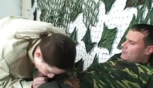 Military lady gets soldiers cum