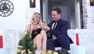 Blonde has a glass of wine and then she gets fucked yes hard