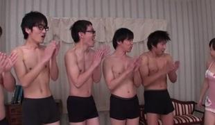 Exotic Japanese slut Sayaka Takahashi in Horny JAV uncensored Gangbang clip