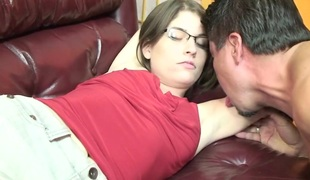 Brunette roughly hairy cunt does professional bj down darling