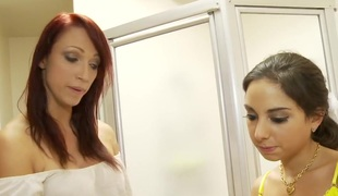 Petite Triplet St-Clair and Mother Sucks Cock