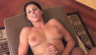 Busty young Kylie Rachelle is torrid and enjoys rubbing and sucking this huge blarney