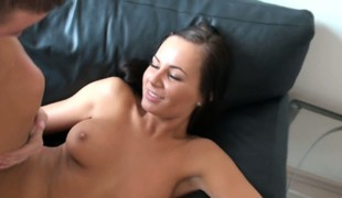 Charming raven-haired chick fabrication her coming out in hardcore porn