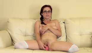 Lovely alternative other Penny Pax puts white stockings on and pets  her twat