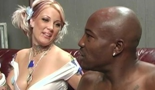Hot model enjoys cowgirl style banging and gets cumshot in cuckold scene