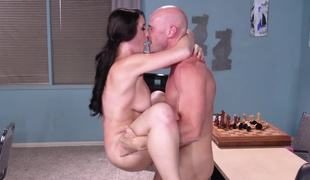 Chess motor coach and busty schoolgirl end lesson with hot sex