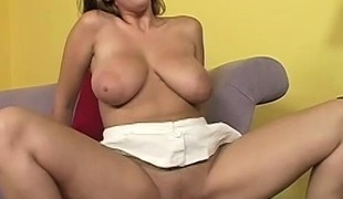 Their way sensational boobs bounce coupled with jiggle as she passionately fucks that lasting prick