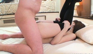Mio goes lascivious as he hammers her hard then shoots his load inside