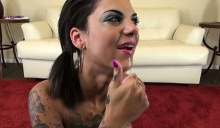 Bonnie Ruthless swallows port side dildo and spits on the brush big breasts