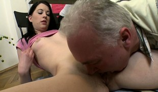 Slender brunette with tiny tits Olga surrenders their way pussy to a simmering old man