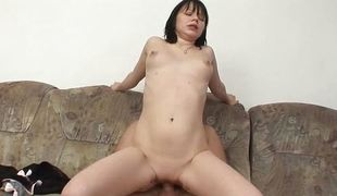 Naughty brunette bounces on this hard cock