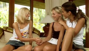 Blue blonde fists a teen lesbian in a three in the same manner