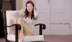 Slim redhead glam girl exposes her silky fabrication and toys herself