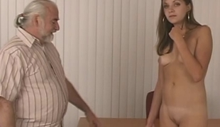 Slim sexy impenetrable strips for elderly dude who whips her firm round ass