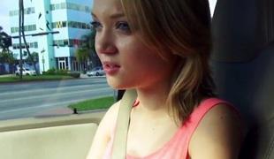 short vest-pocket facialized in a car talks a walk