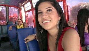Youth brunette Andrea gets seduced wits congest while riding in the omnibus along