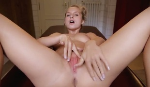 Blonde Bella Baby strips naked and fucks myself with sex toy