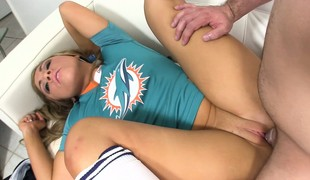 Horny tow-headed gets her unclad cunt drilled anent different positions