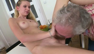 Slender blonde with tiny tits with an increment of sexy wings Rosy enjoys her time with an older impoverish