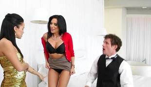Horny MILF Jaclyn Taylor rides her stepdaughters boyfriends cock