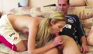 Step-Dad seduce young Step-Daughter to Fuck his big Hawkshaw
