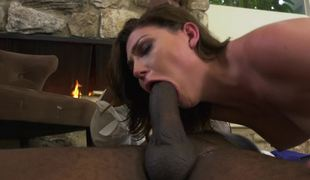 Jessica Rex has interracial sex action at one's disposal fireplace