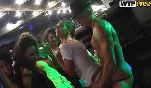 Sexy Russian lesbians making out here the strip club!