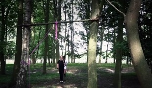 Attractive brunette bdsm used in the woods