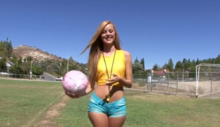 Brazilians by definition dirty after a football practice session with Jessie Rogers