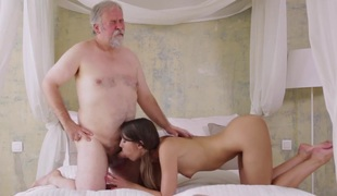 Young Marisa was feeling drawing horny and even though this dude was old she had all over suck surpassing his cock!